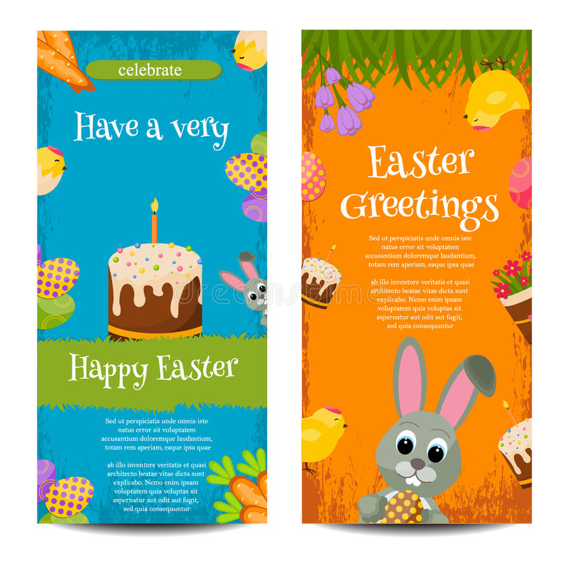 Two Happy Easter banners with eggs and bunny vector illustration. stock illustration