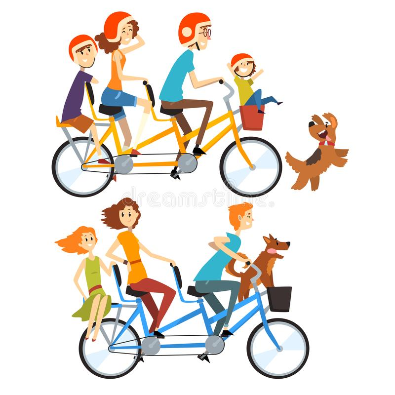 Two happy families riding on tandem bicycles with three seats and basket. Parenting concept. Recreation with kids. Cartoon people characters. Flat vector stock illustration