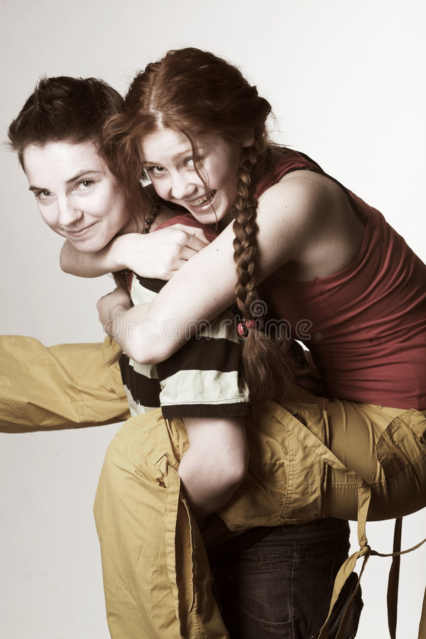 Download Two happy girlfriends stock image. Image of close, girl - 7342303