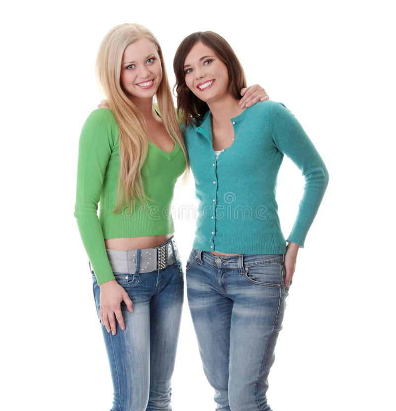 Download Two happy girls stock photo. Image of isolated, beautiful - 16211856