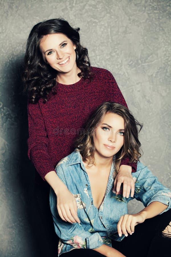 Two Happy Girls Friends stock photo