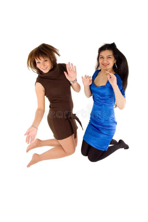 Download Two happy girls jumping stock photo. Image of caucasian - 12590274