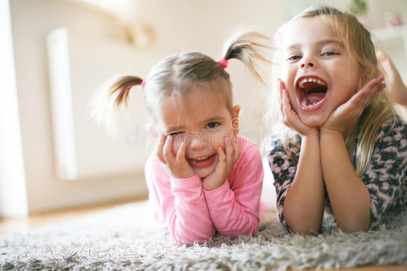 Two happy little girls. royalty free stock photography