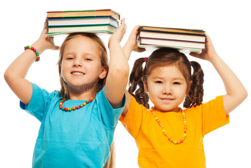Download Two girls with books stock image. Image of kids, library - 29947775