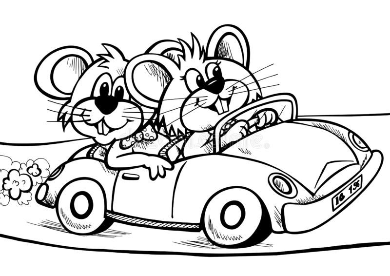 Two happy mice in the car. Design very good to use with coloring pages, books, screenprinting or anything for kids royalty free illustration