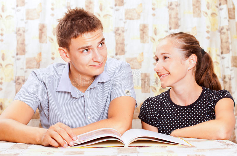Download Two Happy People Learning Together Stock Image - Image: 27697687