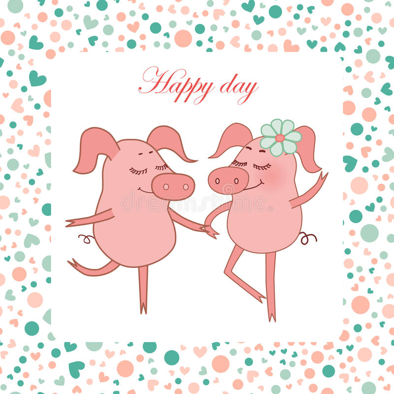 Two Happy pigs, piggy girl with a flower in a hand. Vector funny illustration for Valentine`s Day, wedding design, scrapbook, textiles. Cartoon style. Romantic royalty free illustration