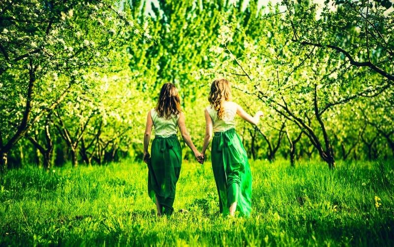 Two happy pretty girls walking on the apple trees garden stock photo