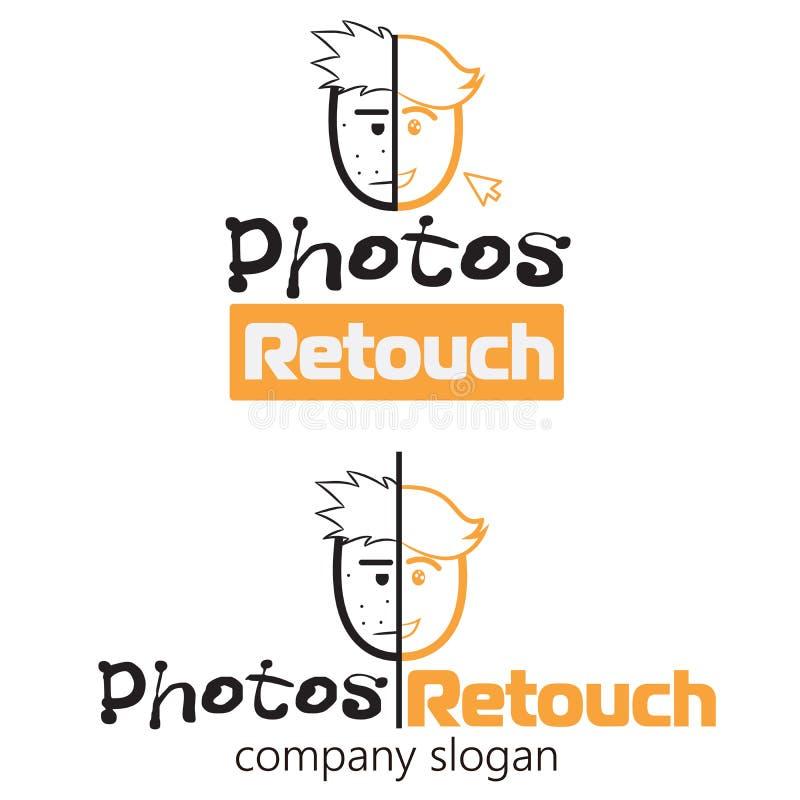 Two happy sad emoticon face logo icon. Vector logo design template for photos retouching. Vector logo template with happy and sad vector illustration