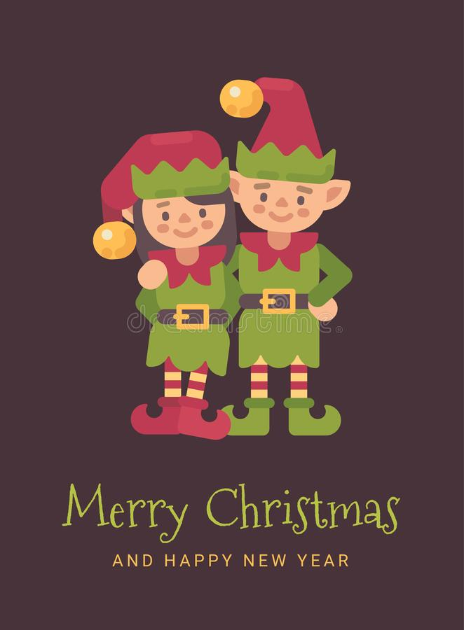 Two happy Santa`s elves Christmas greeting card vector illustration