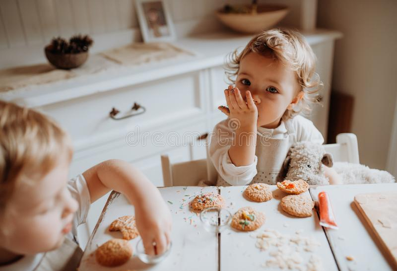Two small toddler children sitting at the table, decorating and eating cakes at home. Two happy small toddler children sitting at the table, decorating and royalty free stock images