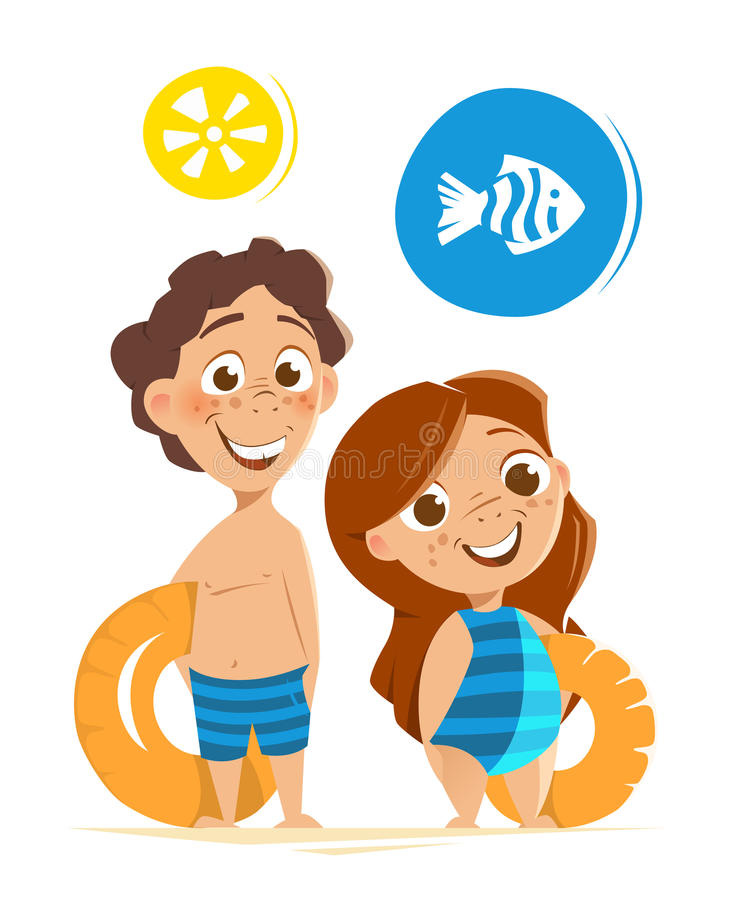 Two happy smile healthy kids childs boy girl summer vacation. Color vector character illustration of happy smile healthy kids childs on summer vacation stock illustration