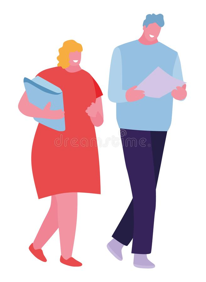 Two happy students walking and talking each other in a campus. Vector illustration in a flat cartoon style. Two happy students walking and talking each other in royalty free illustration