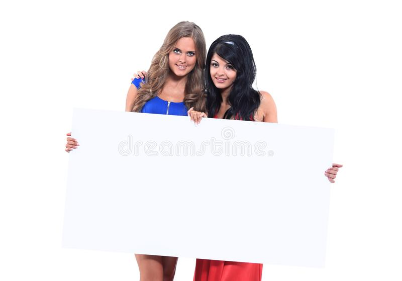 Smiling beautiful girl with message board royalty free stock photo