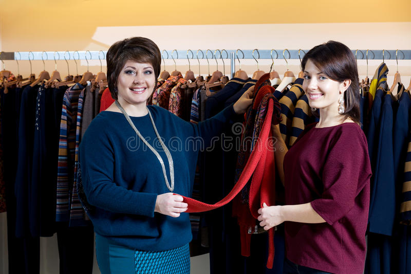 Download Two Happy Women Shopping In Clothes Store Stock Image - Image: 36205963