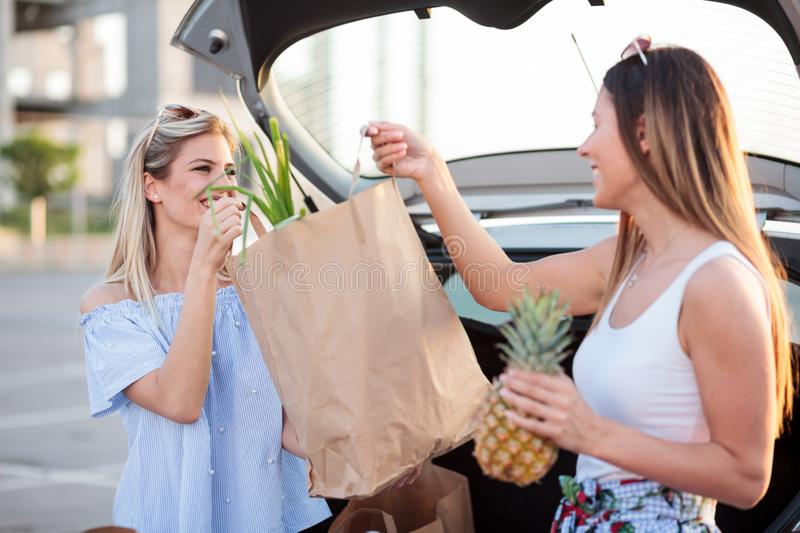Two happy young women loading paper grocery bags into a car trunk. royalty free stock photo