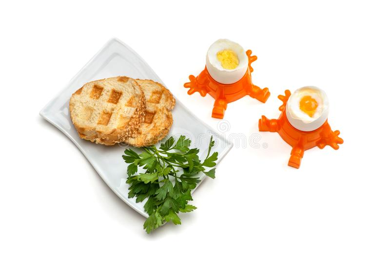 A two of hard-boiled and soft-boiled eggs stand in egg cups, next to it is a plate with a two of toasts and a parsley stock images