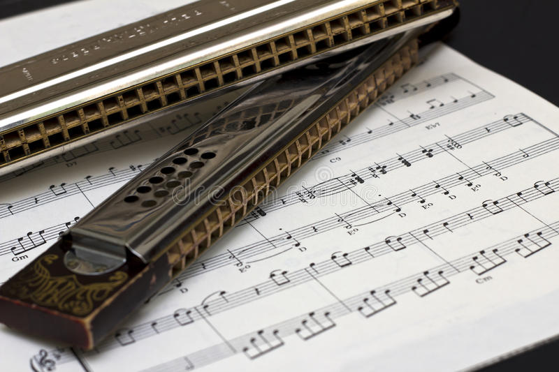 Download Two Harmonicas On Sheet Music Stock Photo - Image of music, wooden: 24558946