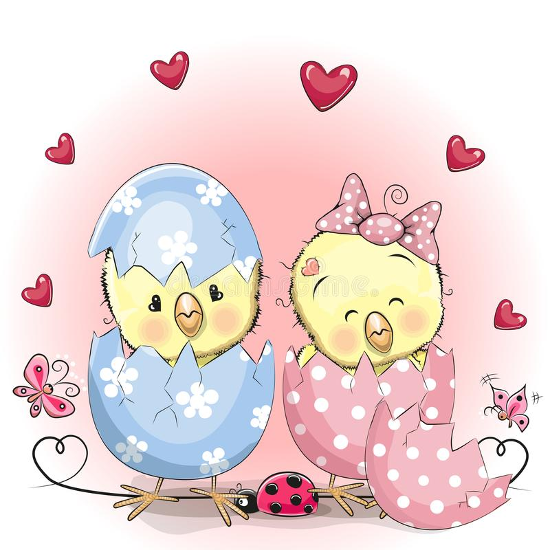 Two hatched chick royalty free illustration