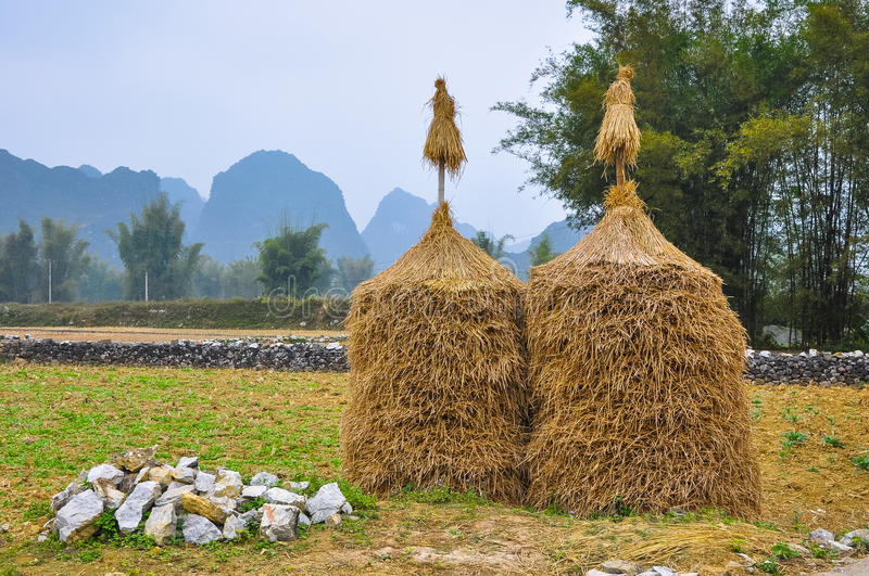 Two haystacks in the background of mountains and bamboo stock photos