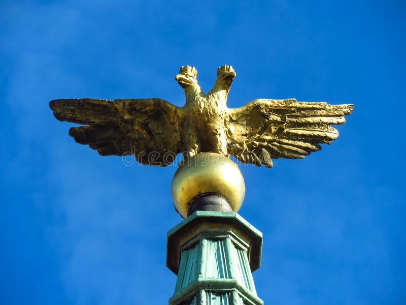 Two headed eagle on city hall stock photography