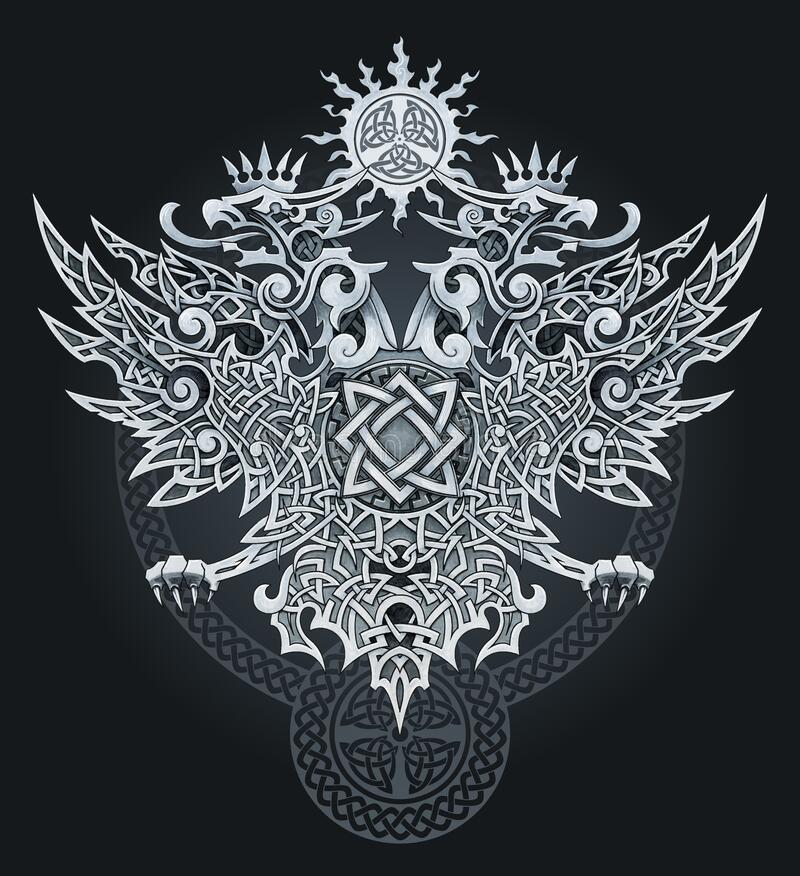 Heraldic eagle in ornaments for tattoo or designs. Two-headed eagle symbol. Heraldic eagle in ornaments for tattoo or designs stock illustration