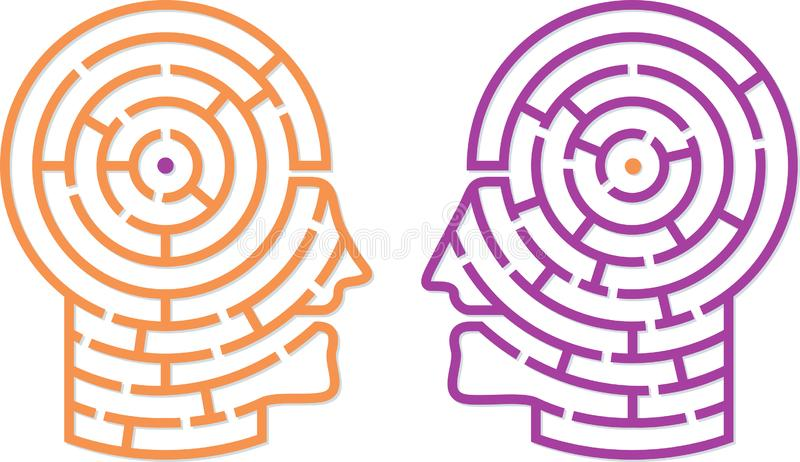 Two heads talking with maze brains. Labyrinth chat. royalty free illustration
