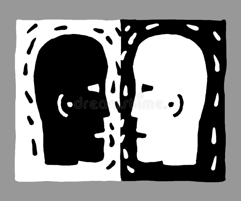 two heads (vector) stock illustration