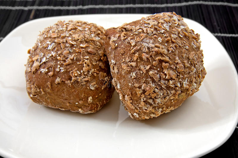 Download Two healthy buns on plate stock photo. Image of healthy - 12395230