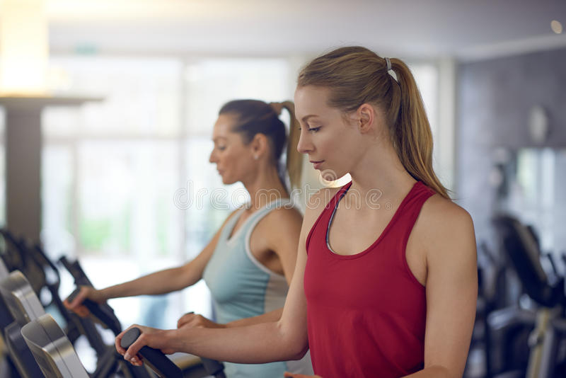 Two healthy women working out in a gym royalty free stock images