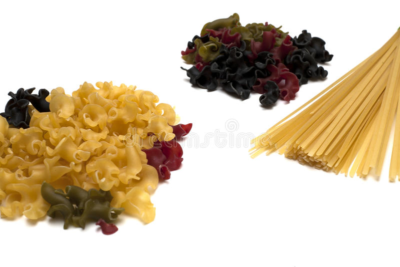Two heaps of gigli pasta and spaghetti brunch