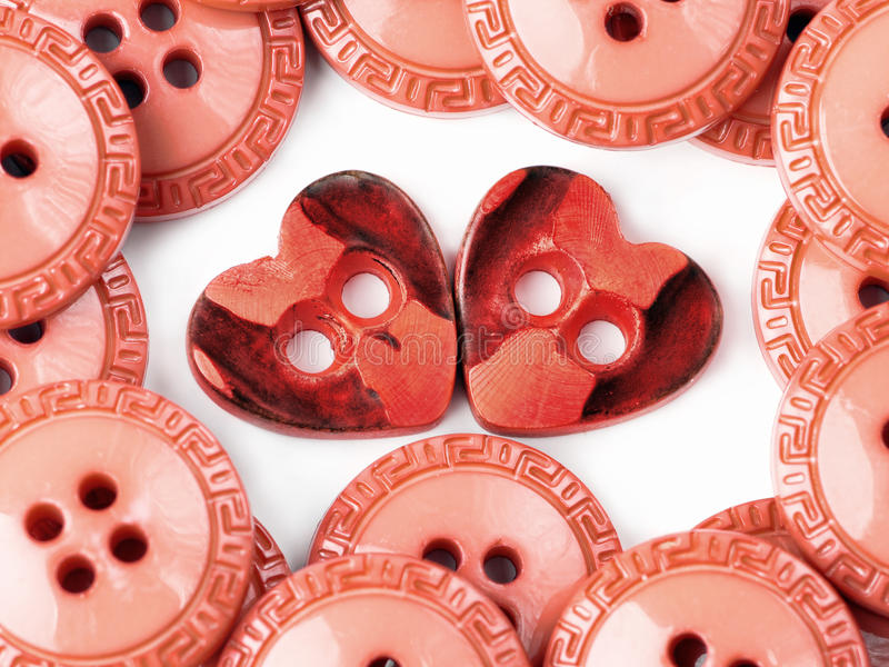 Download Two heart buttons stock image. Image of shape, holes - 12718923