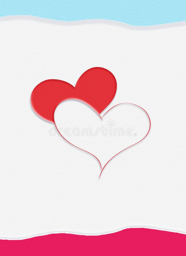 Two heart. S on white paper textured background. Background for Greeting card with two red hearts, invitation with symbol of the love. Digital illustration. For royalty free illustration