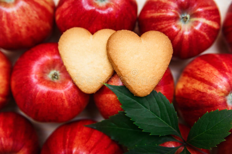 Two heart shaped cookies on the red apples.  royalty free stock photography