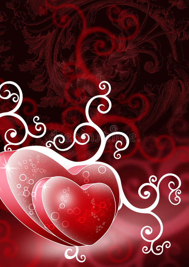 Download Two Heart Shapes On Red Background Stock Illustration - Image: 5120199