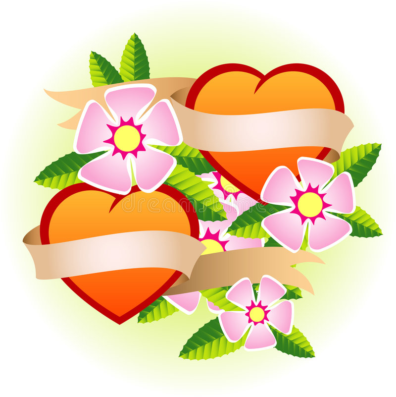 Two hearts. With flowers and ribbon vector illustration