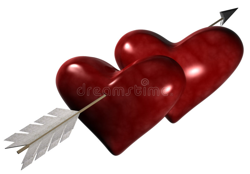 Through Two Hearts royalty free stock image