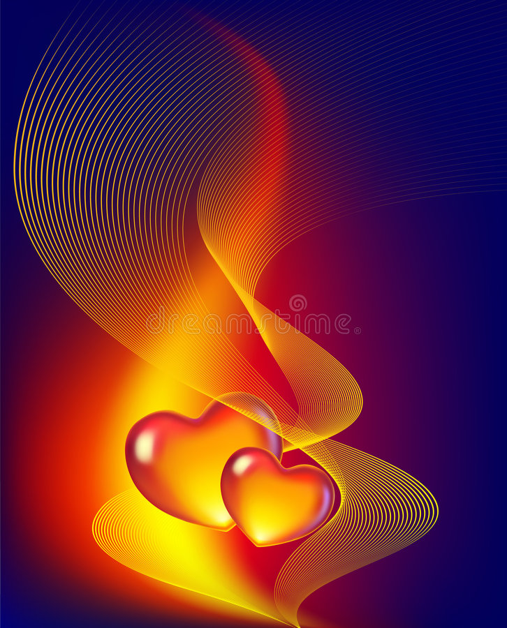 Two hearts. Abstract background with two hearts stock illustration