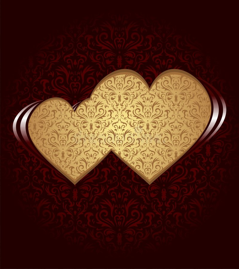 Two hearts. On dark background and damask texture royalty free illustration