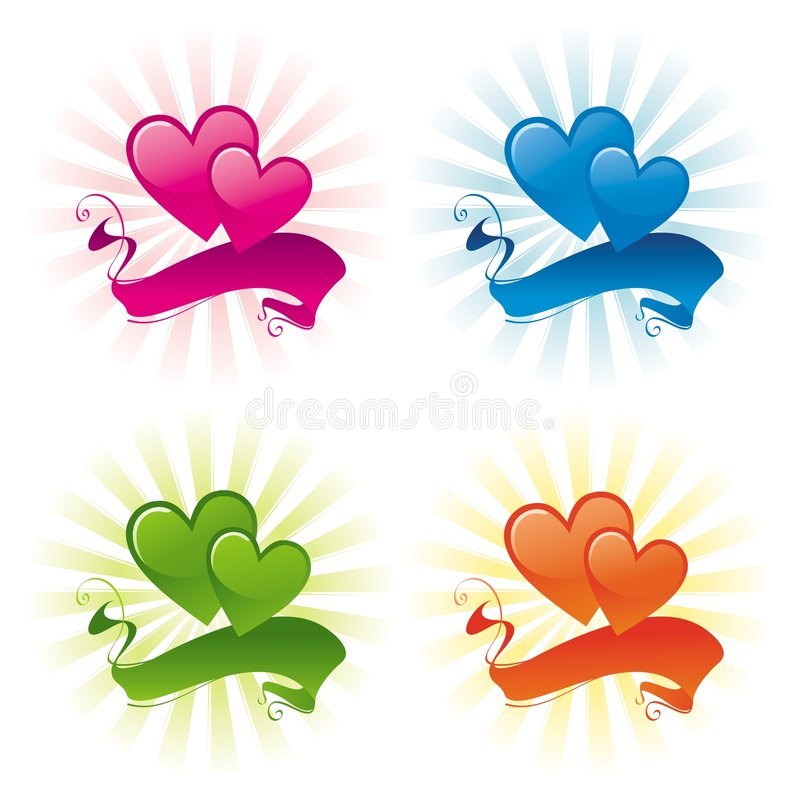 Two hearts and banner stock illustration