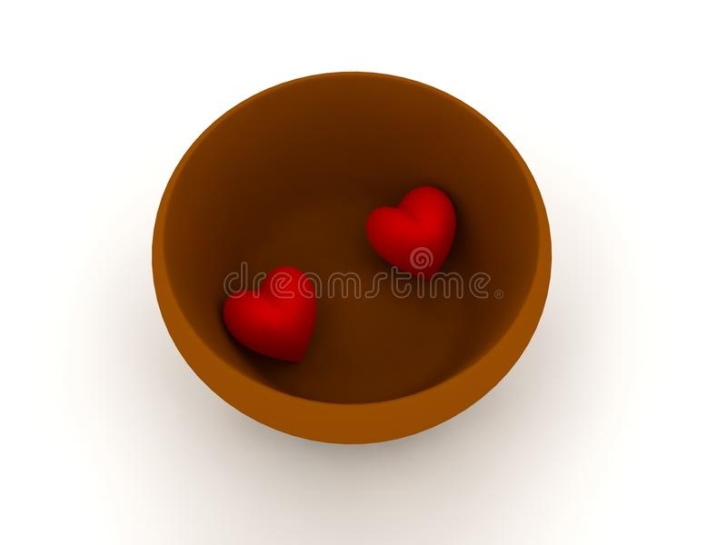 Download Two hearts in a bowl stock illustration. Image of background - 12557072
