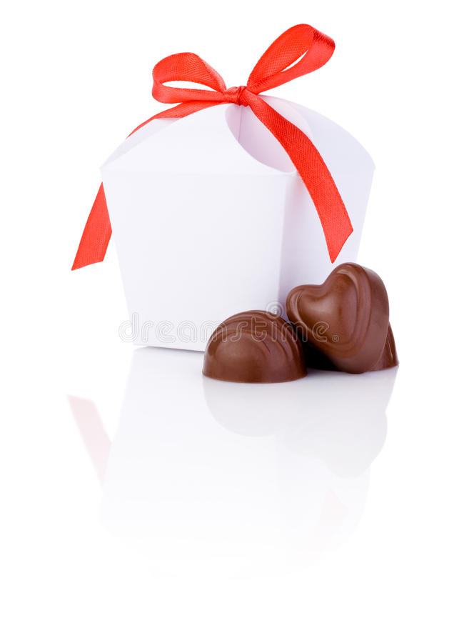 Two hearts chocolate and White gift box Isolated stock photos