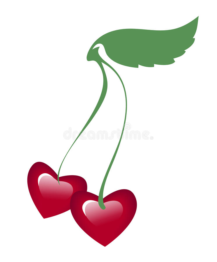 Download Two Hearts On A Common Twig Stock Illustration - Image: 23757188
