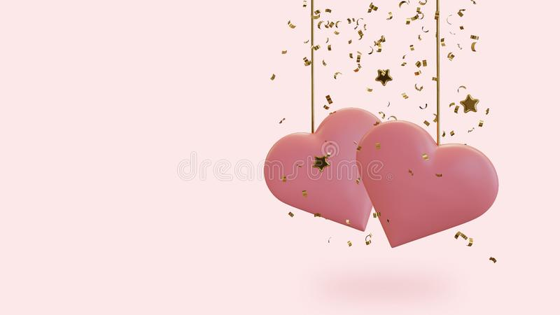 Two Hearts with Confetti and Stars stock illustration