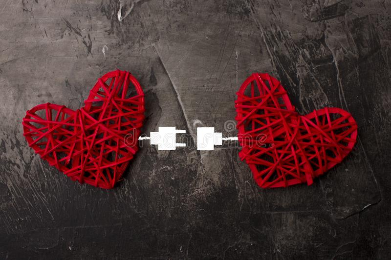 Two hearts connected by USB cable. vector illustration