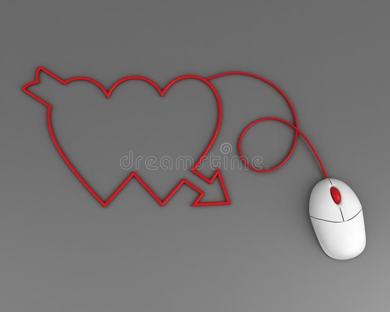 Two Hearts Depicted By Computer Mouse Cable Stock Photo