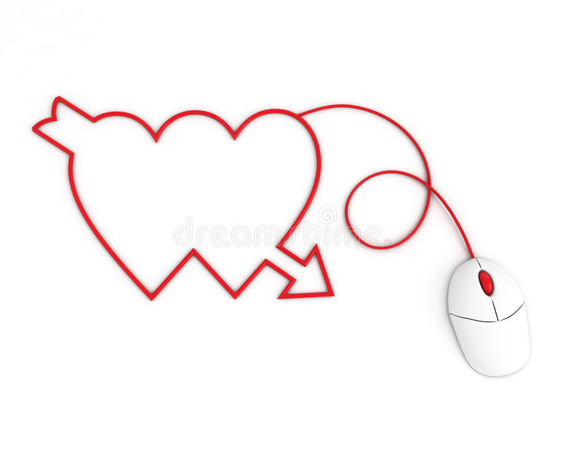 Download Two Hearts Depicted By Computer Mouse Cable Stock Photo - Image: 7861858