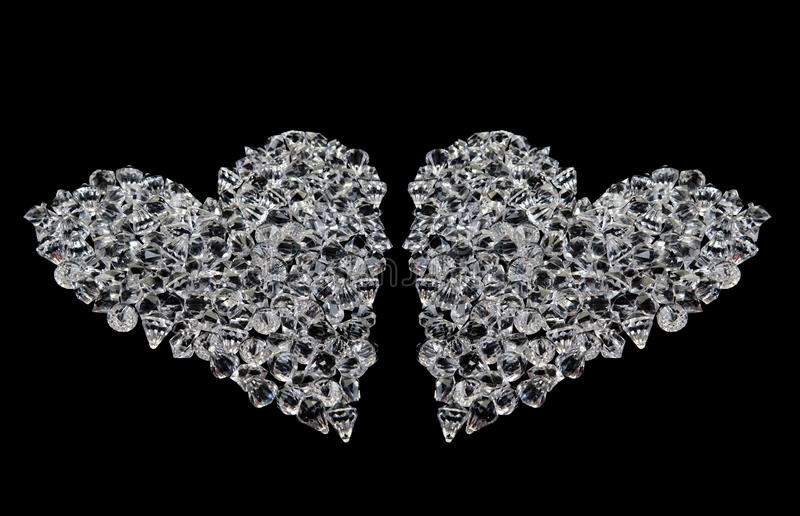 Two hearts of diamonds on black