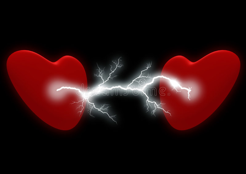 Two hearts with the electric discharge. It is isolated on a black background stock illustration