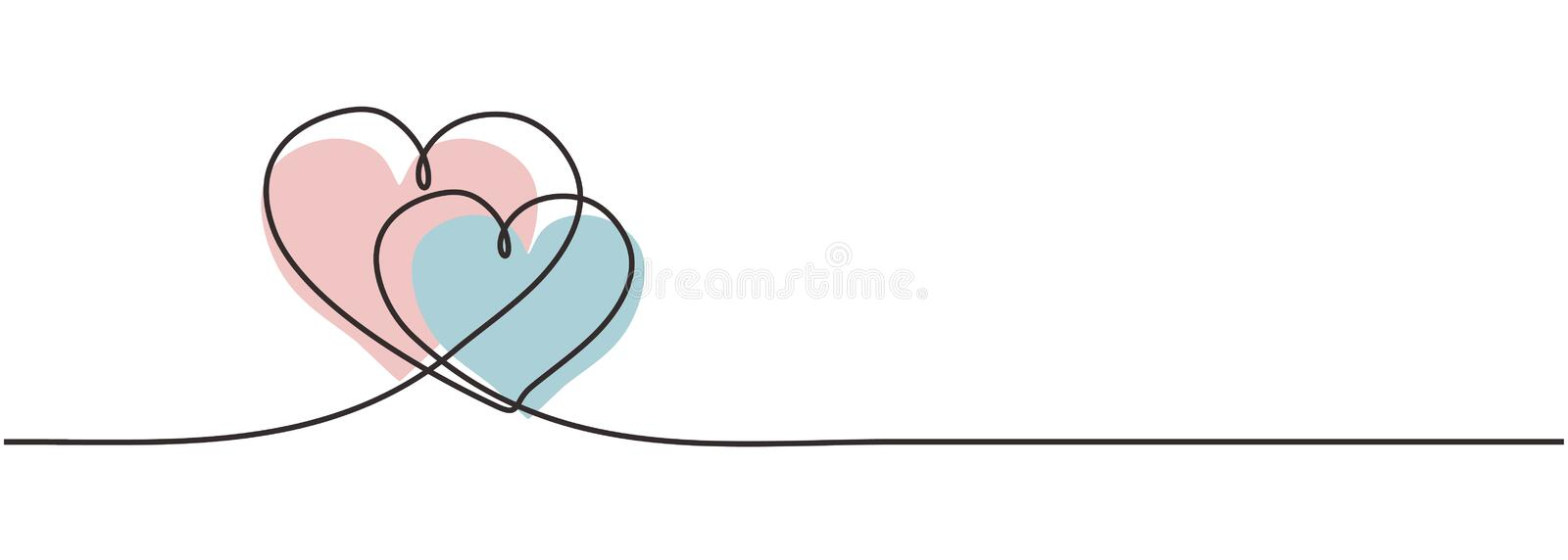 Two hearts embracing each other continuous one line drawing of love concept and romantic symbol for valentine's day greeting. Design card, poster, and sign vector illustration